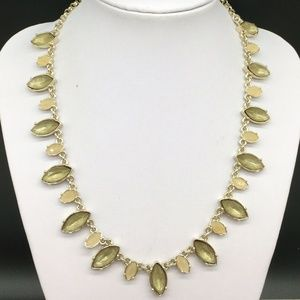Ann Taylor Rhinestone Gold Tone Statement Necklace
